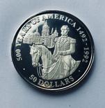 50 Долларов, серебро, 1 унция, 500 летие открытия Америки 1492-1992,, фото №3