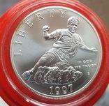 США 1 доллар 1997 г. Серебро. 50-летие Джеки Робинсона. Бейсбол., фото №2