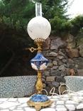 Лампа фарфор нарядная светильник стекло металл под керосиновую, фото №2