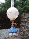 Лампа фарфор нарядная светильник стекло металл под керосиновую, фото №8