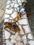 Лампа фарфор нарядная светильник стекло металл под керосиновую, фото №12