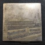 Серебряная пудреница 875 пробы с изображением Кремля., фото №2