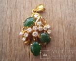 Золотой кулон с нефритом и бриллиантами., фото №2