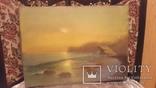 Старая картина Морской пейзаж с подписью автора, фото №3
