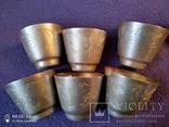6 серебряных стопок проба 875, фото №3