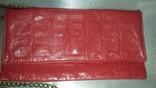 Кораллового цвета крокодиловая сумка Англия винтаж, фото №3