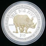 10 Долларов 2001 Носорог / Большая Африканская Пятерка Сафари, Сьерра Леоне Позолота