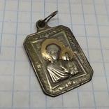 Медальон Ладанка Дева мария с ребенком. Серебро+золото. Вес 1,3гр, фото №5