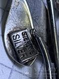 Винтажная серебряная брошь с Англии в виде трёх листиков, фото №5