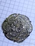 Винтажная круглая серебряная брошь, фото №2