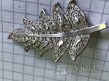 Винтажная серебряная брошь в виде листика, фото №2
