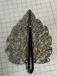 Серебро 835 Брошь вскидки листика 7,9 грамм, фото №2