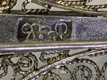 Серебро 835 Брошь вскидки листика 7,9 грамм, фото №4
