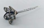 Мельхиоровая шпилька для волос с камнями, винтажная., фото №4
