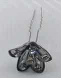 Мельхиоровая шпилька для волос с камнями, винтажная., фото №7