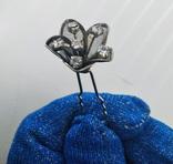 Мельхиоровая шпилька для волос с камнями, винтажная., фото №8