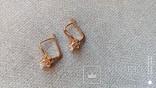 Серьги   золото 583, проба СССР со звездой, вставки цирконы., фото №7