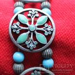 Металлический браслет с зеленым камнем, фото №2