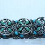 Металлический браслет с зеленым камнем, фото №9