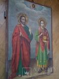 Ікона св.Петро і Пантелеймон, 77.5 на51.5см., фото №9