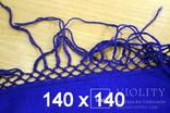 "Платок  синий "" Павлово-Посад""-1978 год(шерсть-бахрома-не пользованный) 140х140, фото №11"