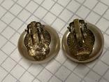Винтажные круглые клипсы с англии золотистого цвета, фото №3