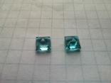 Два одинаковых квадратных голубых топаза, фото №4