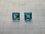 Два одинаковых квадратных голубых топаза, фото №2