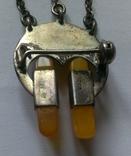 Брошь серебряная с янтарем, фото №3