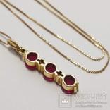 Золотая подвеска с натуральными рубинами и бриллиантами, фото №3