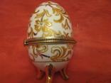 Шкатулка - Яйцо - золотые цветы - фарфор., фото №3