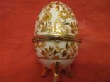 Шкатулка - Яйцо - золотые цветы - фарфор., фото №4