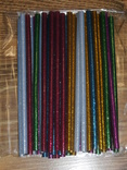 Силиконовый клей для пистолета с блестками 7мм (разноцветый) 38шт, фото №2