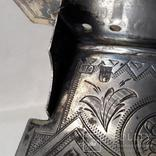 Серебряная солонка (стул, трон) с гербом и хлебосольной надписью, фото №4