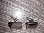 Советские запонки Серебро 875 проба  серебрянные СССР с натуральным камнем 50 е годы, фото №4