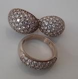 Комплект серьги и кольцо серебро 925 проба
