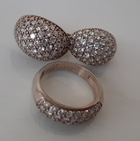 Комплект серьги и кольцо серебро 925 проба фото 1