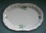 Блюдо овальное Зелёный букет. Фаянс, Буды. 1953-1957-е гг., фото №3