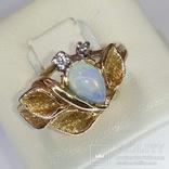 Винтажное золотое кольцо с натуральным опалом и бриллиантами, фото №2