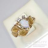 Винтажное золотое кольцо с натуральным опалом и бриллиантами, фото №5