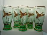 5 стаканов Охота на уток позолота цветное стекло