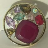 Кольцо с камнями в круге фото 1