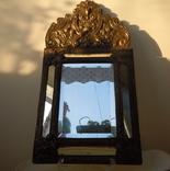 Антикварное зеркало латунь и дерево фото 2