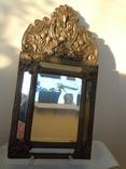 Антикварное зеркало латунь и дерево фото 3