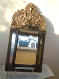Антикварное зеркало латунь и дерево фото 4