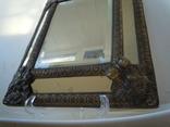 Антикварное зеркало латунь и дерево фото 5