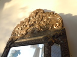 Антикварное зеркало латунь и дерево фото 6