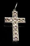 Крестик, цирконы, оранжевые камни, фото №2