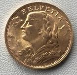 20 франков 1935 год Швейцария золото 6,45 грамм 900', фото №2