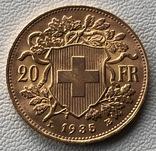 20 франков 1935 год Швейцария золото 6,45 грамм 900', фото №3